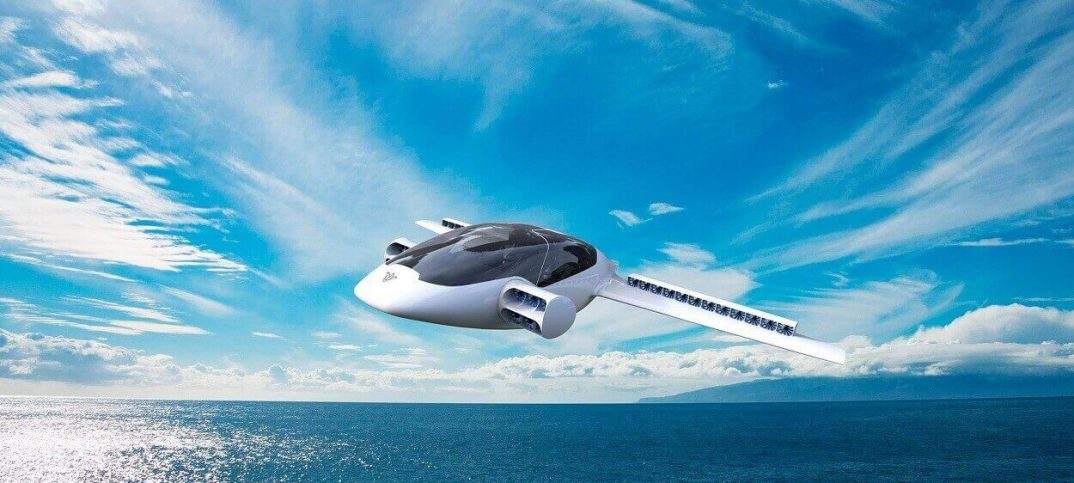 lilium flying car over the water
