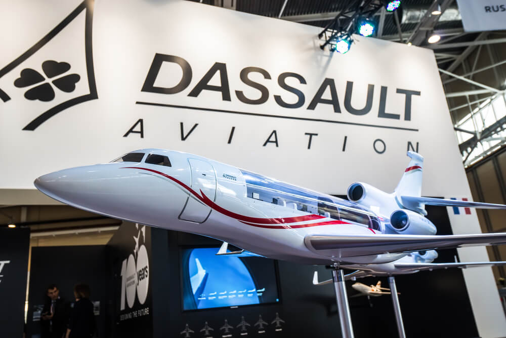 Dassault aviation stand during Jetexpo-2016 exhibition at Vnukovo international airport.