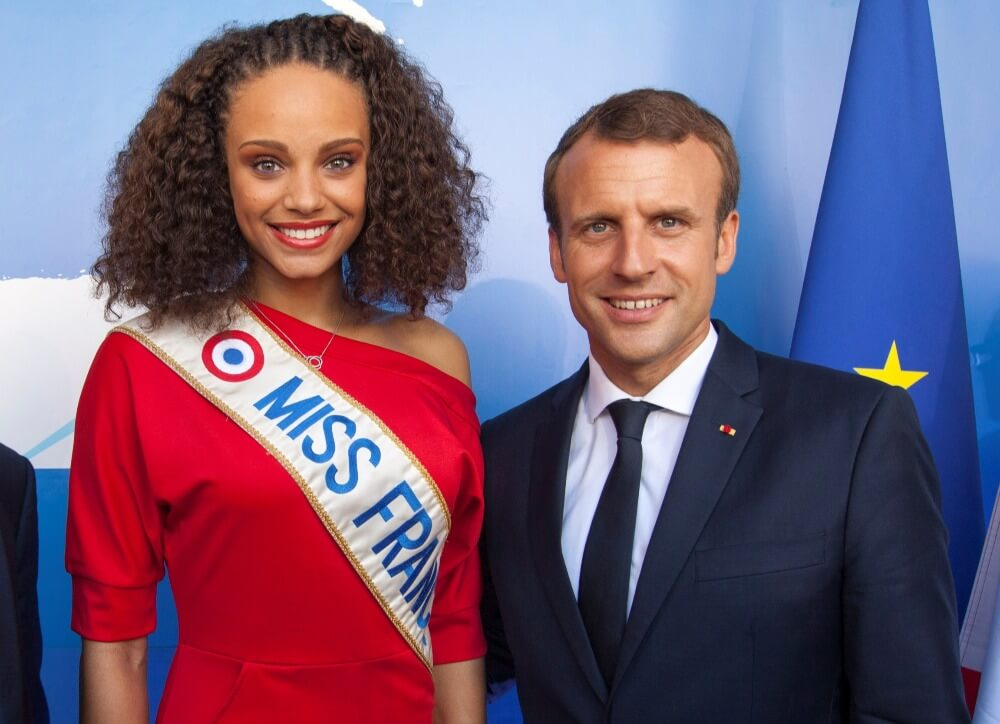 French President Emmanuel Macron poses with Miss France 2017, Alicia Aylies
