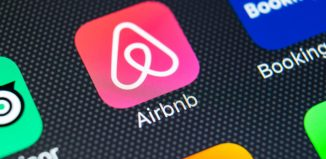 Airbnb logo on smartphone app