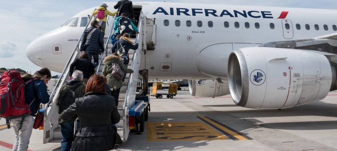 Boarding Air France Jet airplane