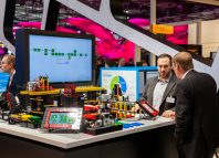 DFKI (German research center for artificial intelligence) and Aris Community built Lego smart factory on exhibition fair Cebit 2017 in Hannover Messe, Germany