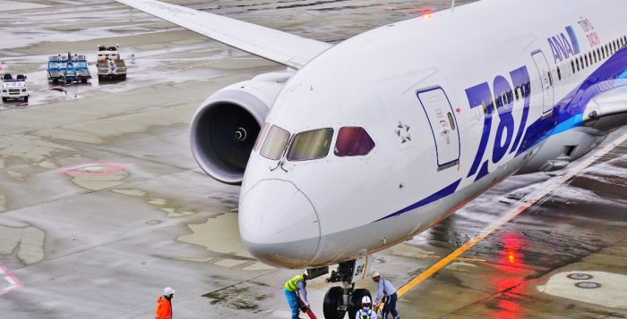 A Boeing 787 Dreamliner airplane