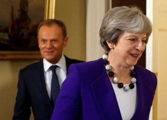 Theresa May, Donald Tusk. REUTERS/Frank Augstein